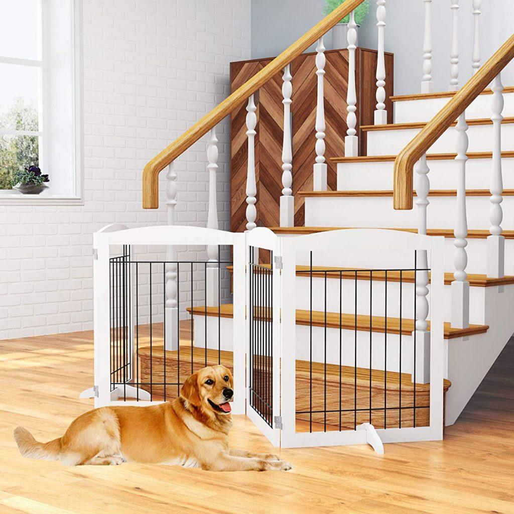 PAWLAND Freestanding Extra-Wide Dog Gate via Amazon