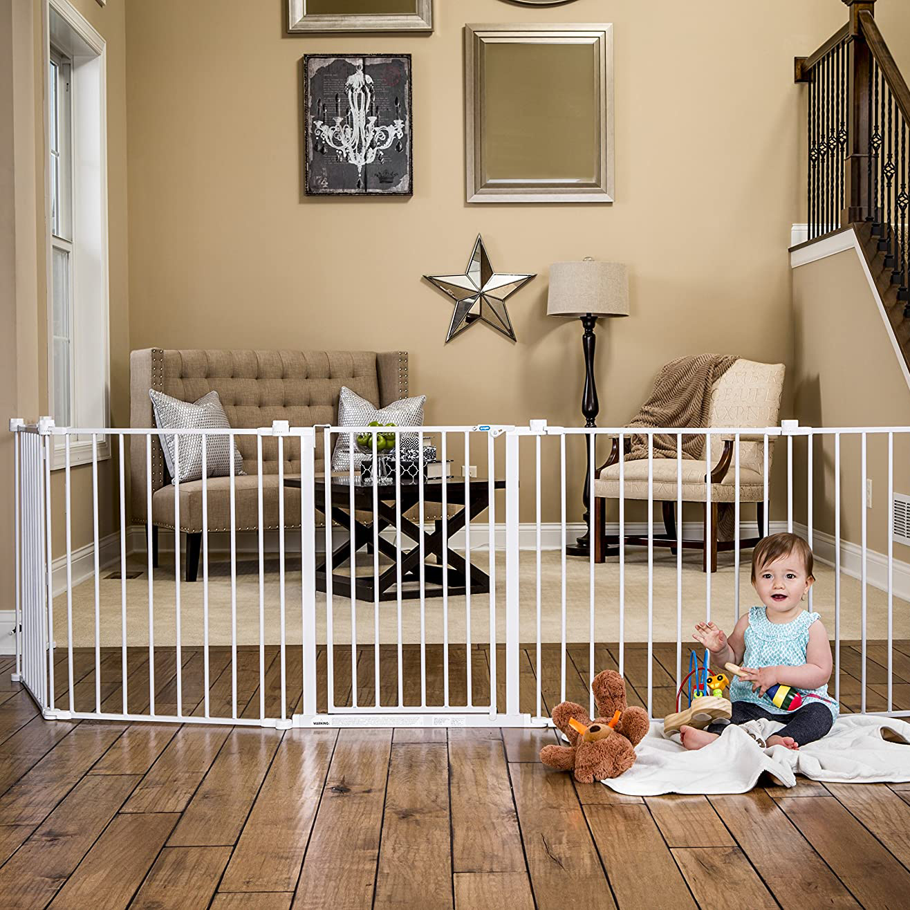 REGALO 2 in 1 Super-Wide Adjustable Baby Gate and Play Yard via Amazon