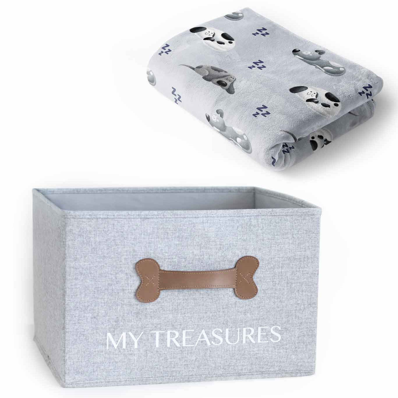Soft Dog Toys for Cuddlers feat. BULLTUG Cozy Home Bundle Toy Box and Blanket Set via Amazon