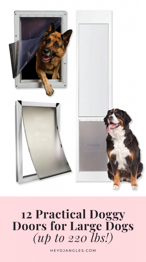12 Practical Doggy Doors for Large Dogs (up to 220 lbs) - feat. brands such as PetSafe, Ideal Pet Products, Hakuna Pets, Endura Flaps and Extreme Dog Door. Dog doors for big dogs, large to extra large and giant breeds, pet doors for large pets. #largedog #doggydoor #petdoor