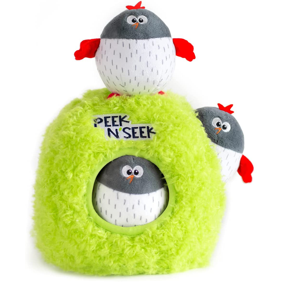 Tough Plush Toys for Dogs feat. BULLTUG Peek N' Seek Puzzle Toy via Amazon