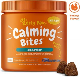 Best Calming Aids for Dogs - Zesty Paws Calming Bites dog treats via Amazon.
